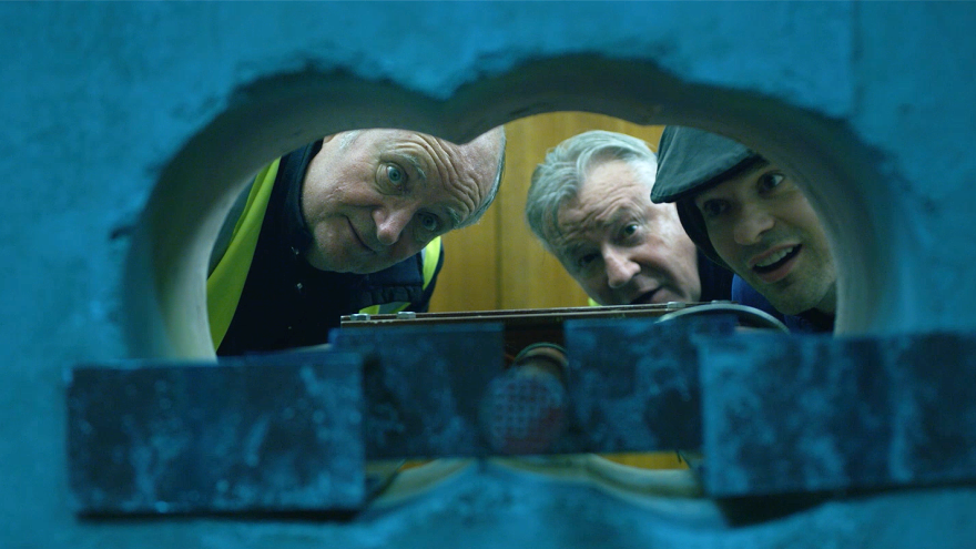 From left: Terry (Jim Broadbent), Billy (Ray Winstone) and Basil (Charlie Cox) display vaulting ambition in <em>King of Thieves.</em>