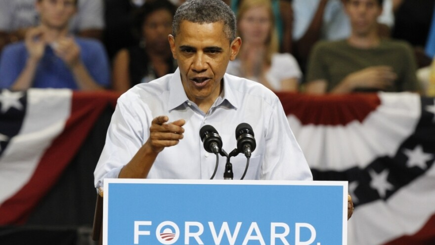President Obama, seen earlier this month at a Virginia rally, launched a TV and Web campaign Monday criticizing Romney's record on job creation.