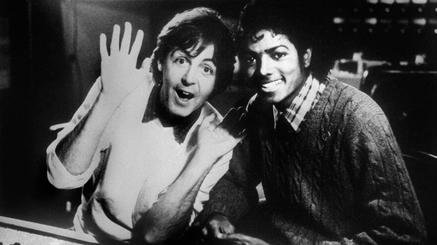 Paul McCartney and Michael Jackson  in 1983. Jackson's share of the rights to many Beatles songs has been purchased by Sony.