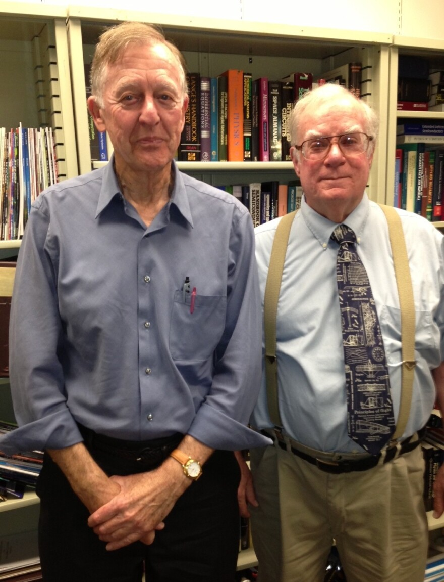 John Hurrell (left) is a 75-year-old physicist at The Aerospace Corp. His boss, Steven Moss, says having older workers on staff is beneficial because of their experience.