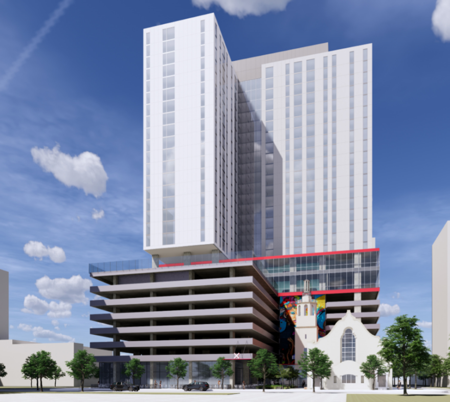 A rendering of PMG's proposed tower in Downtown Tampa.