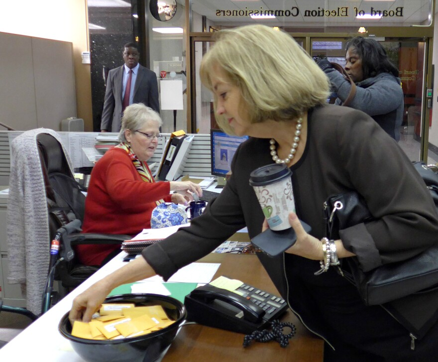 Mayoral hopeful Lyda Krewson, the 28th Ward alderman, selects the number that will set her position on the March 2017 ballot at the St. Louis Board of Election Commissioners on November 28, 2016.