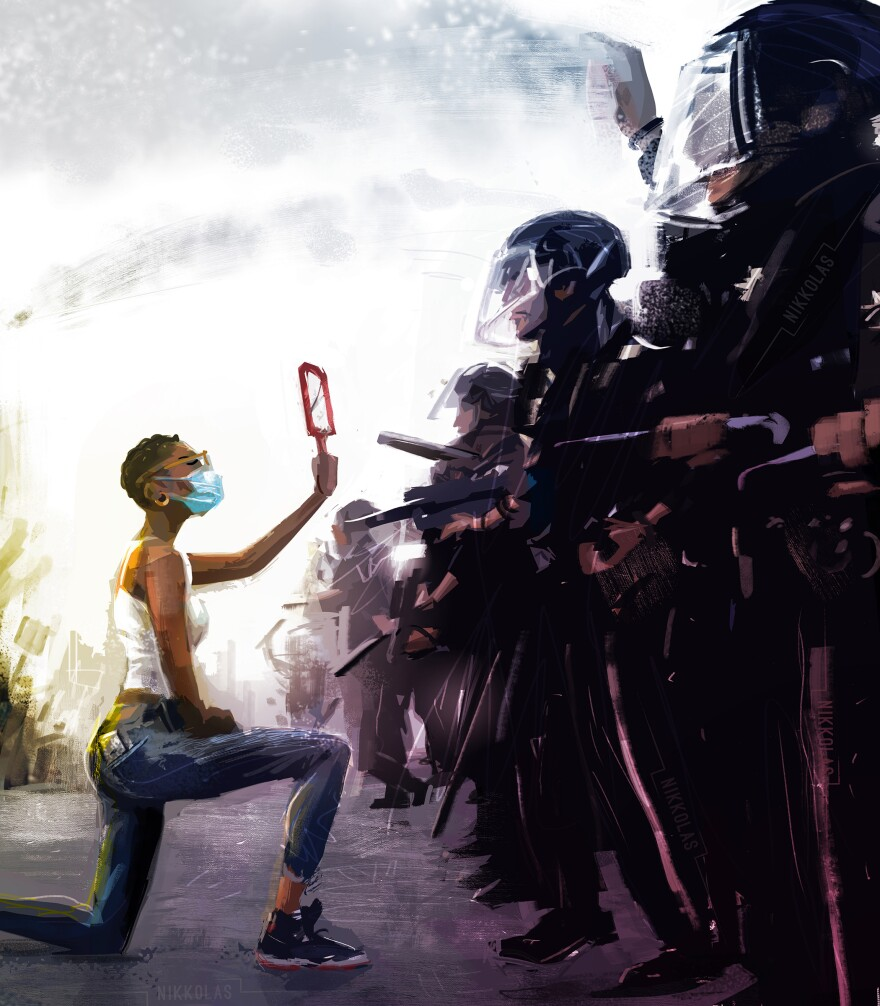 """Artist Nikkolas Smith found inspiration for this painting in <a href=""""https://www.instagram.com/p/CA0STpYl9ZK/"""">Dai Sugano's photograph</a> of a protester kneeling before police. Smith posts his digital paintings — many with social justice themes — to social media in the hope that his art will inspire change."""