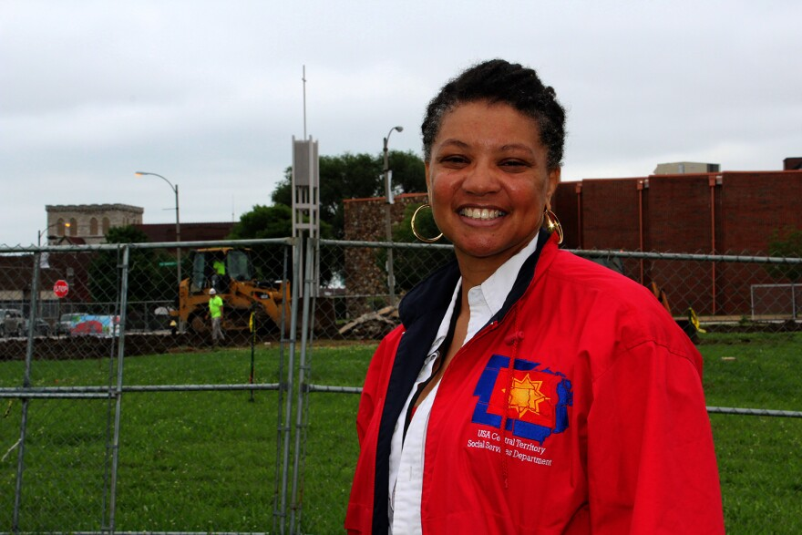 Kim Beck, social services director for the Salvation Army, stands in front of the future site of the agency's drug treatment center on Washington Avenue.