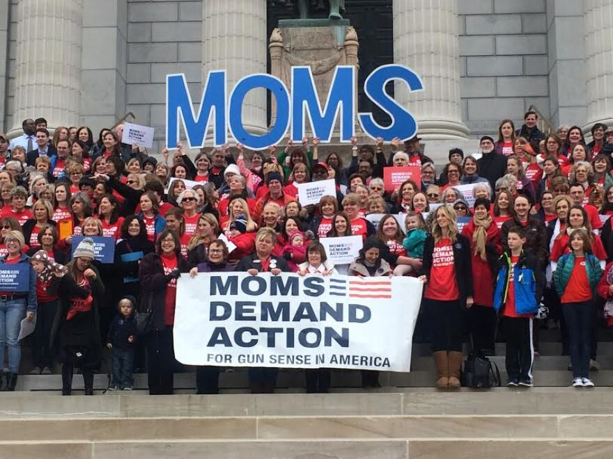 The Moms Demand Action group poses for a photo on Wednesday, Feb. 8, 2017, at the Missouri Capitol.