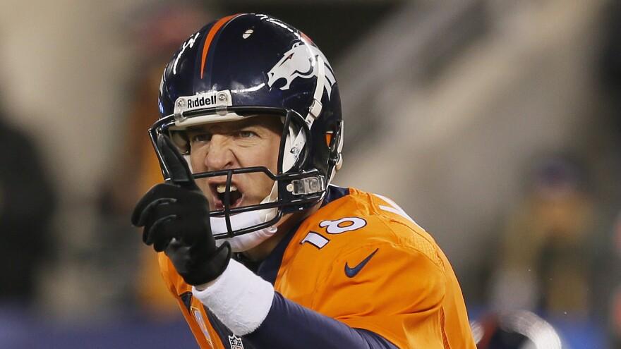 Denver Broncos quarterback Peyton Manning during Super Bowl XLVIII in 2014. Manning will meet the Carolina Panthers in Super Bowl 50 this Sunday.