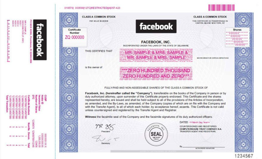 In filing for its imminent initial public offering, Facebook included this sample of a stock certificate. The company's stock has been sought by investors on private markets.