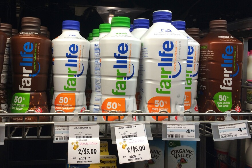 Fairlife milk, shown here on sale in Minneapolis, Minn., in April, is a partnership between Coca-Cola and Select Milk Producers, a dairy cooperative that owns Fair Oaks Farms.