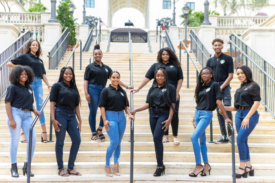 Members of the UTSA Black Student Union pose for a portrait on the university campus.