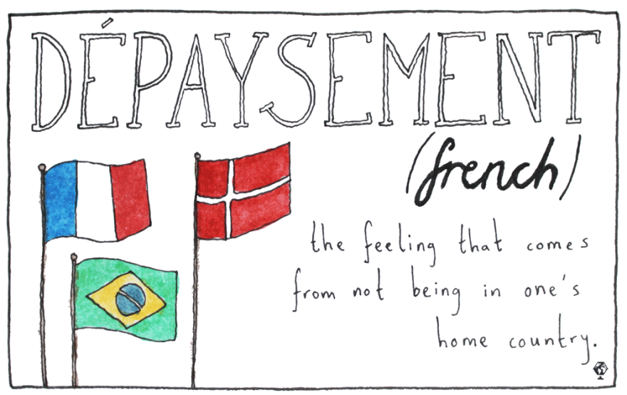 The feeling that comes from not being in one's home country — of being a foreigner, or an immigrant, of being somewhat displaced from your origin.