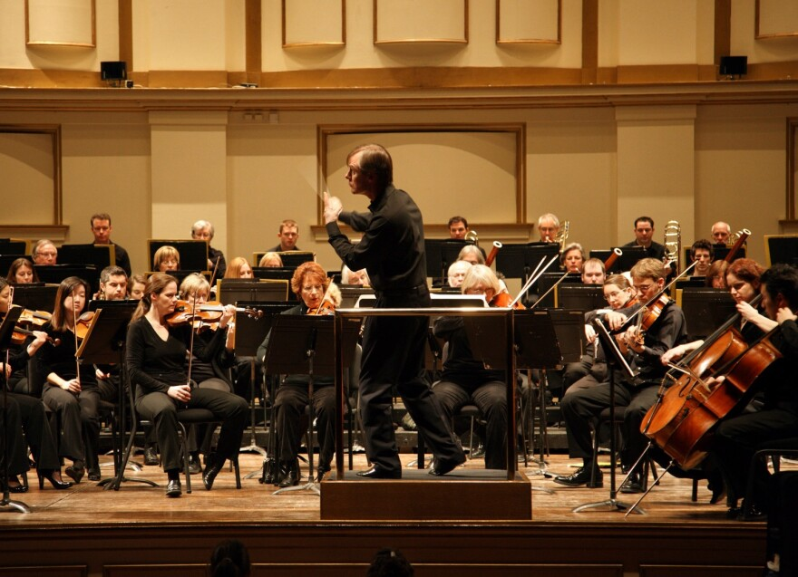 David Robertson, the St. Louis Symphony's musical director, leads the orchestra in this file photo.