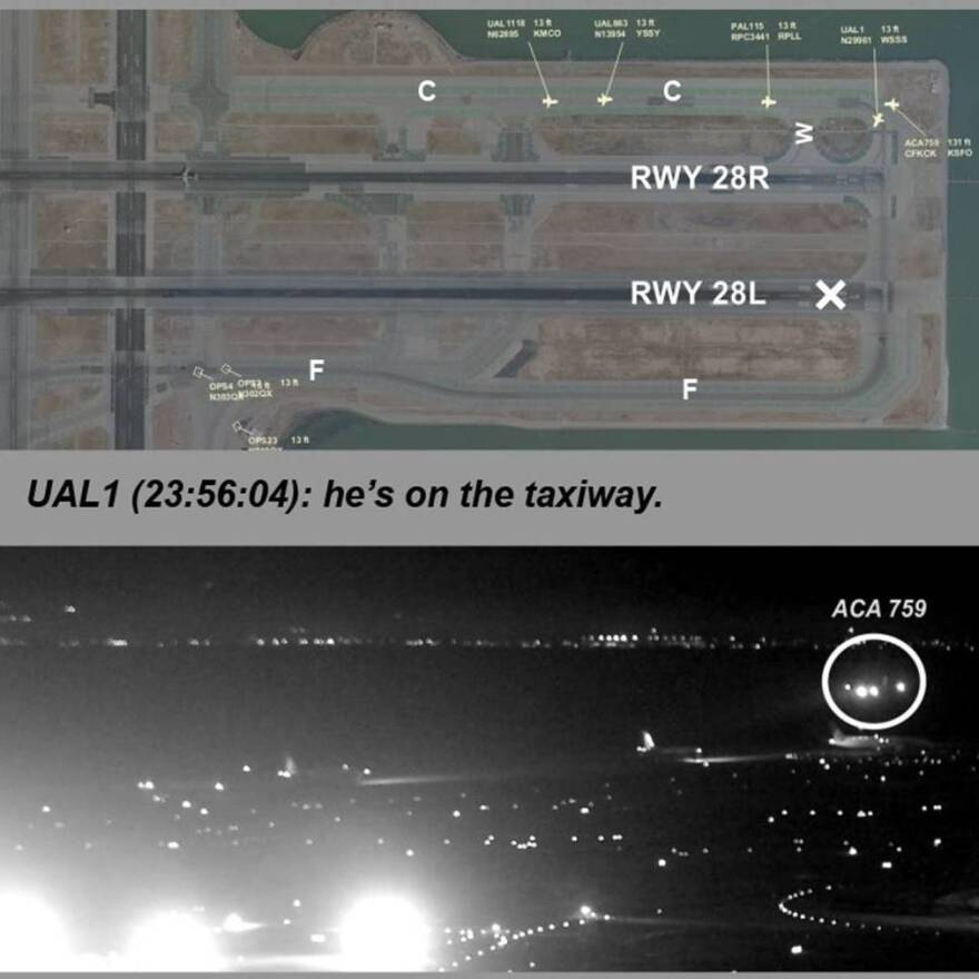 The top image is a map of the San Francisco airport created from Harris Symphony OpsVue radar track data analysis of an an Air Canada flight trying to land on July 7. The bottom image was taken from San Francisco International Airport video.