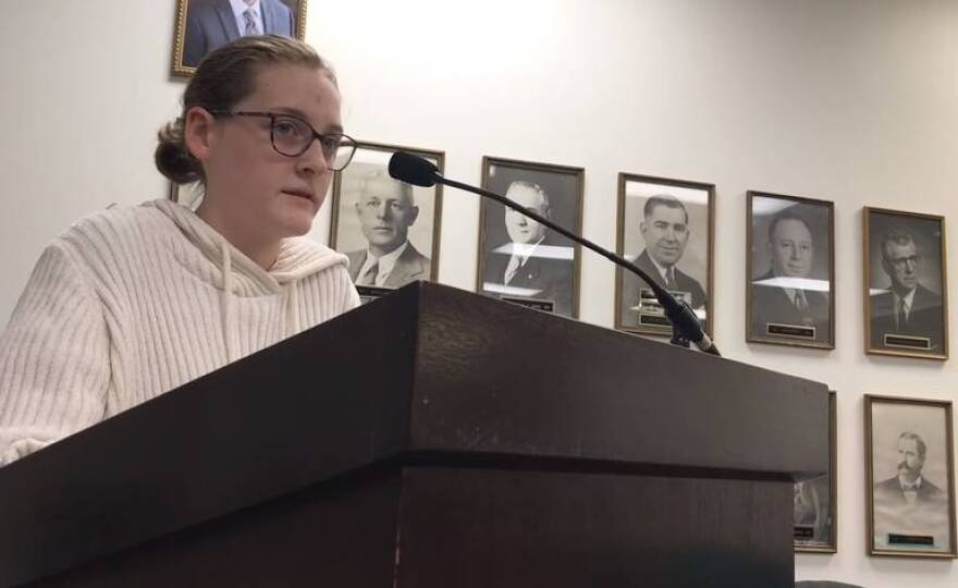 Kate Voss, 13, testifies before Edwardsville City Council Tuesday night, encouraging aldermen to vote for an ordinance requiring retailers to charge a fee for single-use shopping bags.