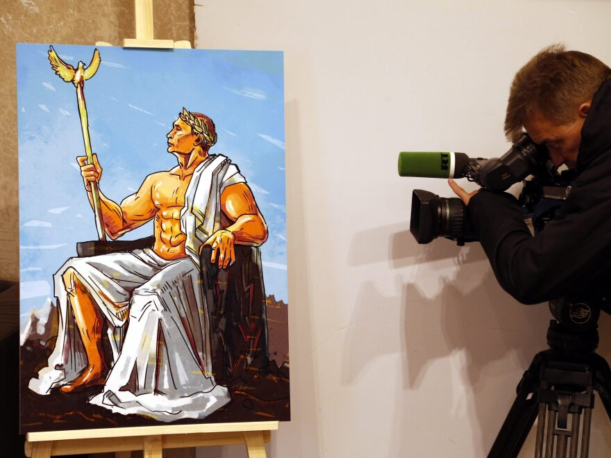"At Moscow's ""Putin Universe"" exhibition, a painting depicted the Russian president as Jupiter, god of the skies."
