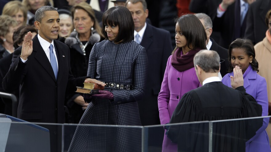 President Obama took the oath of office on two bibles — Abraham Lincoln's and one that belonged to the Rev. Martin Luther King Jr.