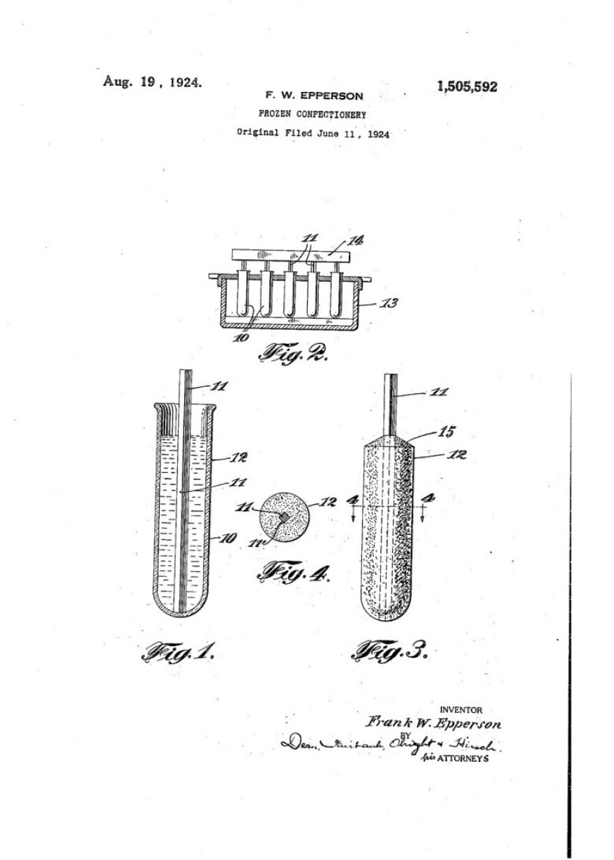 """The patent Frank Epperson filed in 1924 for his """"frozen confectionery."""""""