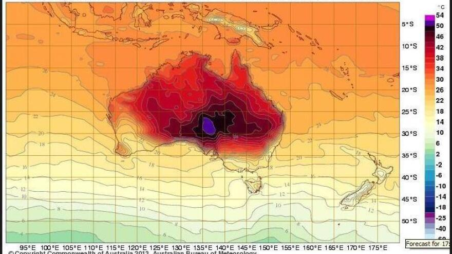 Weather forecasters add deep purple to charts to show extreme heat.