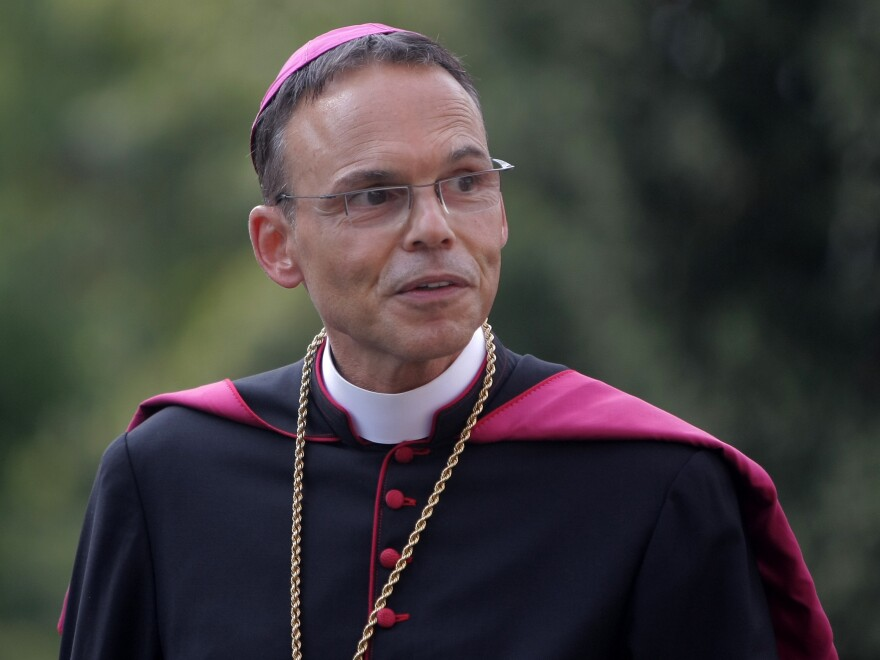 Then-Bishop Franz-Peter Tebartz-van Elst last August. The Vatican has accepted his resignation. Tebartz-van Elst spent lavishly on renovations at his residence and allegedly made false statements about expensive travel costs.