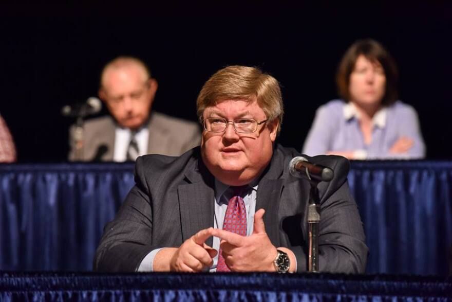 Justice Brent Benjamin at a community forum in 2015.