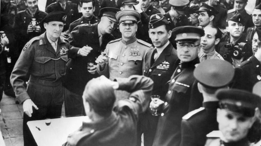May 7, 1945: In Frankfurt, Germany, Allied commanders including British Field Marshal Bernard Montgomery, U.S. Gen. Dwight D. Eisenhower, Soviet Marshal Gregori Zhukov and others celebrate the German surrender.