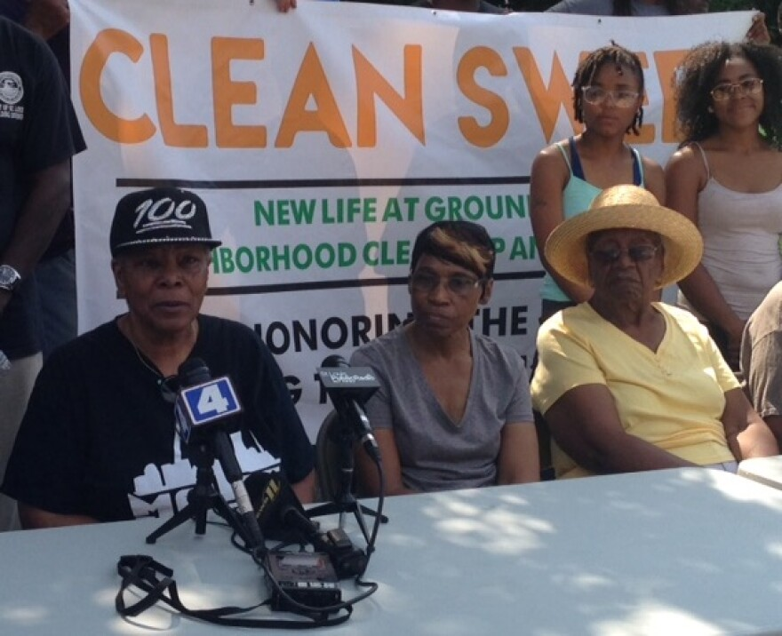 Deborah Ruffin speaks to the press about Clean Sweep and the effort to clean up her Hamilton Heights neighborhood.