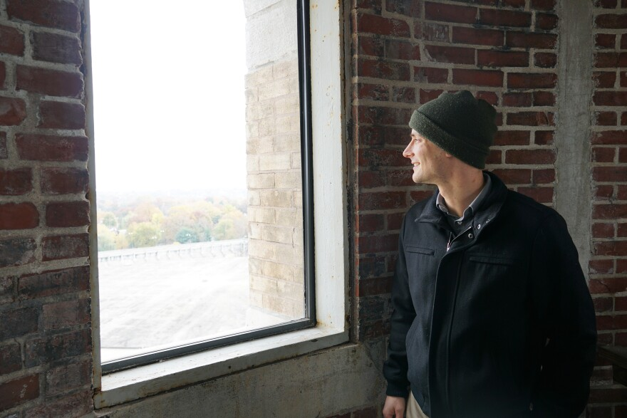Andrew Wanko, public historian for the Missouri History Museum, stops at one of the viewing platforms in the Compton Hill water tower on November 8, 2011.