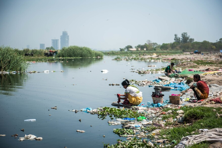 The Yamuna River, which flows through Delhi, is polluted by industrial discharges and domestic sewage.