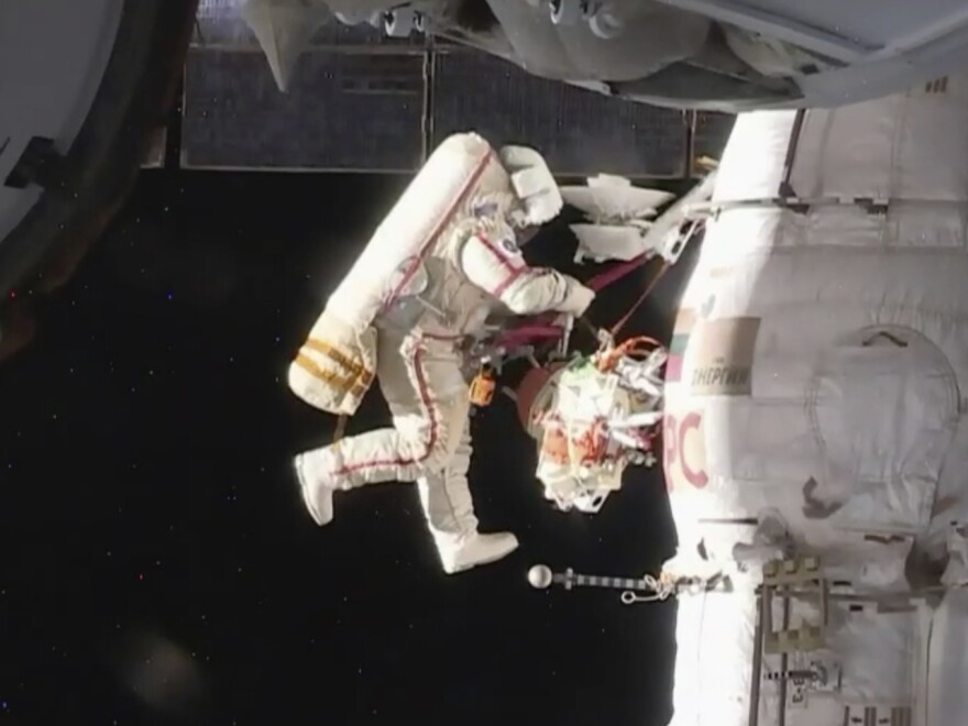 Russian cosmonaut Oleg Kononenko performs a spacewalk outside the International Space Station on Tuesday. Kononenko and Sergey Prokopyev are inspecting a section where a mysterious leak appeared on Aug. 30.