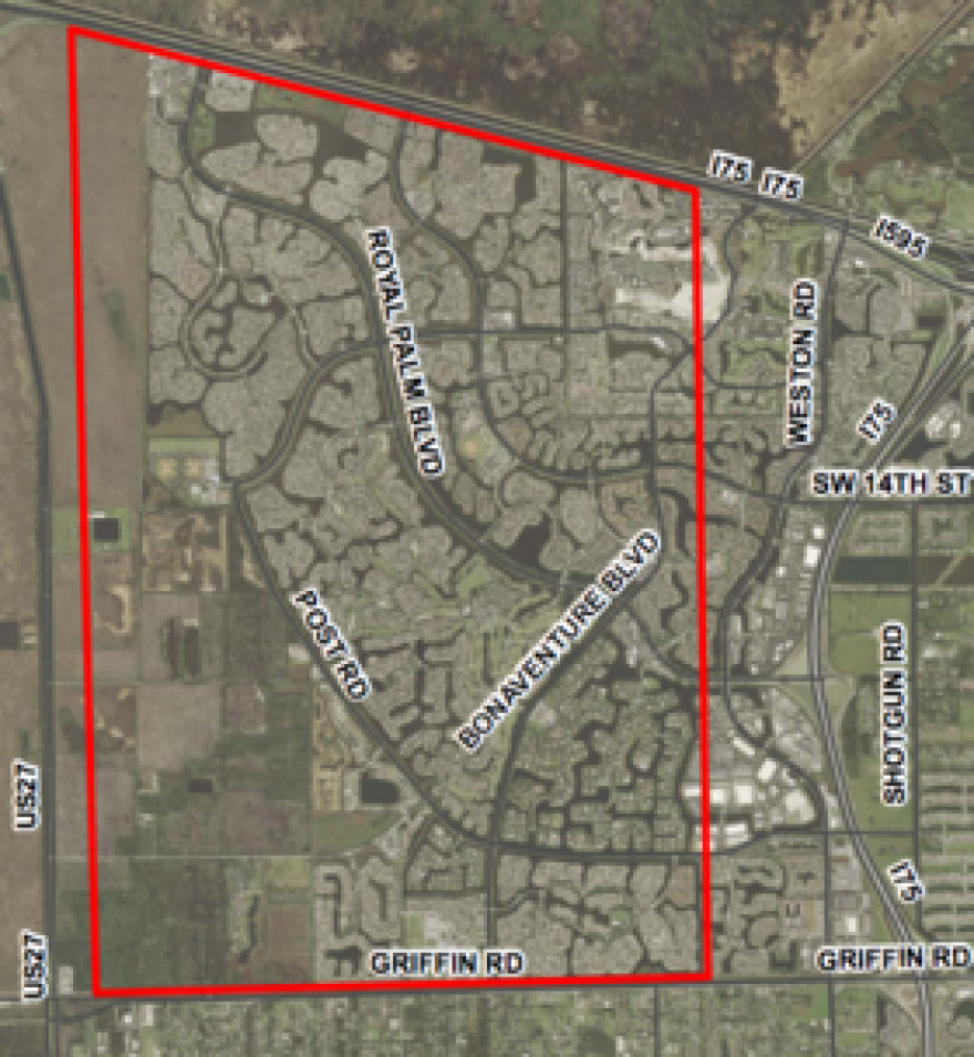 Aerial spraying is scheduled to take place in the boxed area of Weston on Monday.