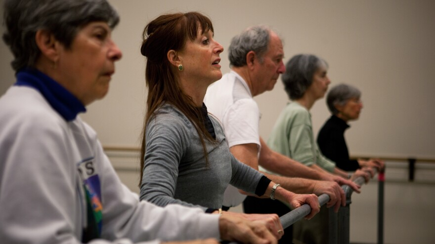 "Dance teacher Lucy Bowen McCauley (second from left) finds that simply humming can help her students with Parkinson's get their feet to ""unfreeze"" and match the song's rhythm."