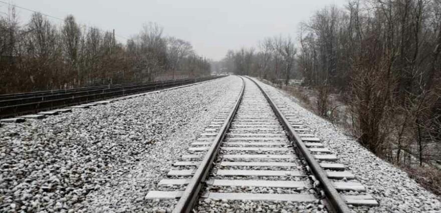 Train tracks near the Coal River encampment.