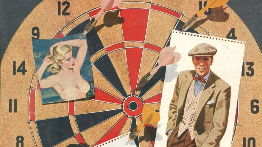 "In this clip from a 1951 cover of <em>Esquire</em>, two of the magazine's abiding loves share a dartboard: a scantily clad woman and a sharply dressed man. <a href=""#gallery"">Head here to see the full cover, and many others, plucked from the magazine's archives.</a>"