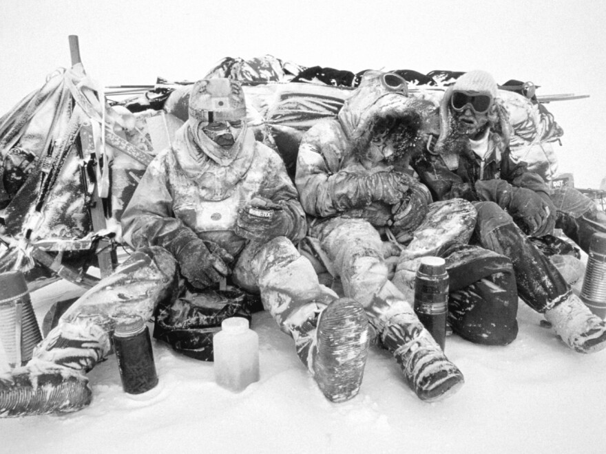 Lunch break is no picnic in Antarctica, during a 56-day storm. Wind-blown snow pelted Will Steger and his 1989-1990 International Trans-Antarctica Expedition, the first to cross the continent — 3,741 miles — by dogsled.