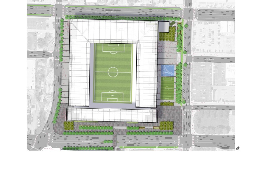 Design drawings show the proposed MLS stadium between 20th and 22nd streets with Market Street on the southern edge and Olive Street as its north border. 10/31/19