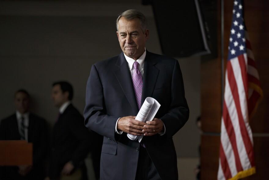 House Speaker John Boehner of Ohio arrives for a news conference Thursday on Capitol Hill in Washington, D.C.