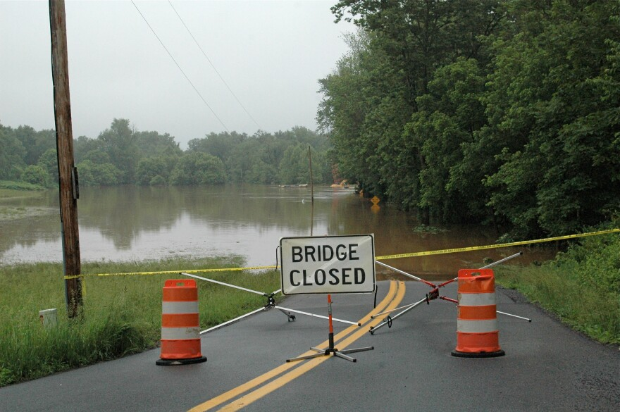 Bridge and construction equipment underwater on River Road in northeastern Morgan County. Sleepy Creek is backed up where it runs into the Potomac River. Photo taken on June 4, 2018.