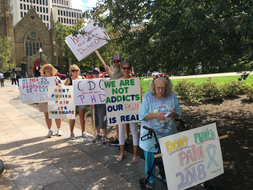 photo of chronic pain patients protests