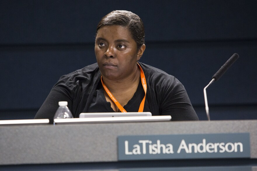 LaTisha Anderson, during an AISD board of trustees meeting in February 2019.