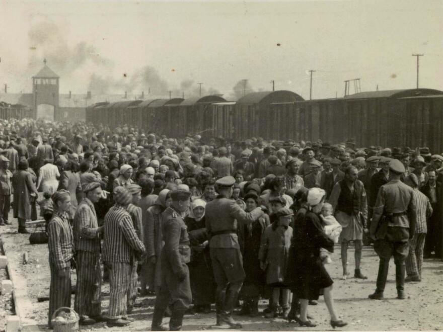 This picture released by Yad Vashem Photo Archives shows the arrival and processing of an entire transport of Jews from Carpatho-Ruthenia, a region annexed to Hungary from Czechoslovakia in 1939, at Auschwitz-Birkenau, Poland, in May 1944.