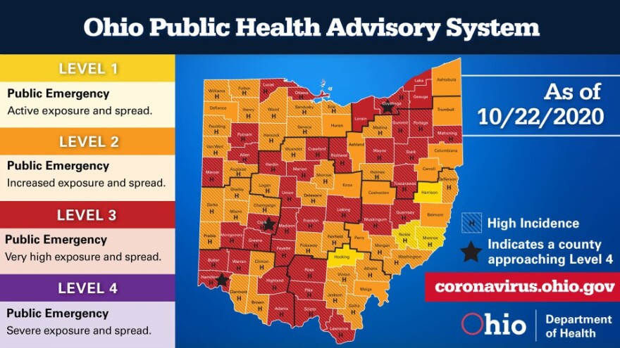 Photo showing thirty-eight counties are now on red alert level 3 on the state's color-coded risk system.