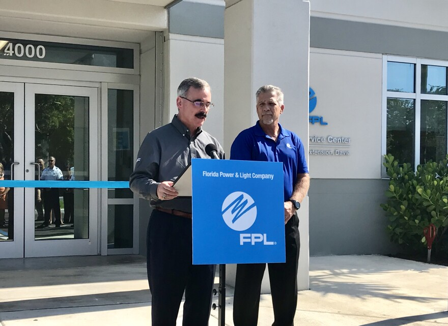 FPL's Vice President of Operations and Power Delivery, Bryan Olnick, left, said the Davie facility is the 11th of 12 hardened operations centers to be opened.
