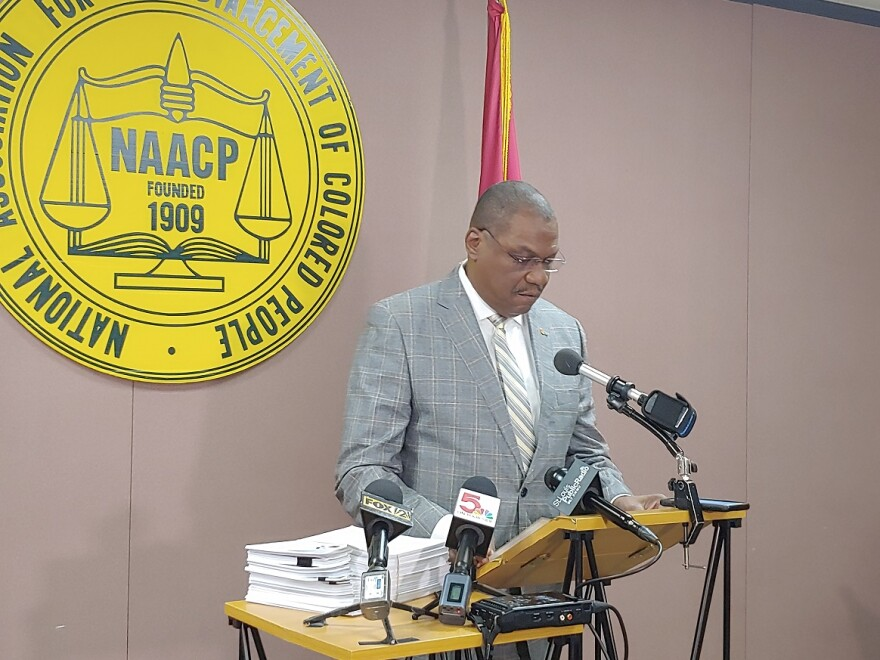 St. Louis NAACP President Adolphus Pruitt at a press conference announcing the airport advisory on Nov. 13, 2018