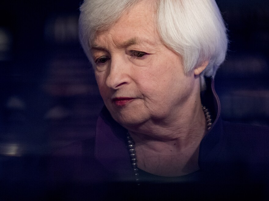 """Former Federal Reserve Chair Janet Yellen appears for a TV interview on Aug. 14, 2019, in Washington. Yellen, now President-elect Joe Biden's pick to lead the Treasury Department, urged Congress on Tuesday to """"act big"""" in helping the struggling economy."""