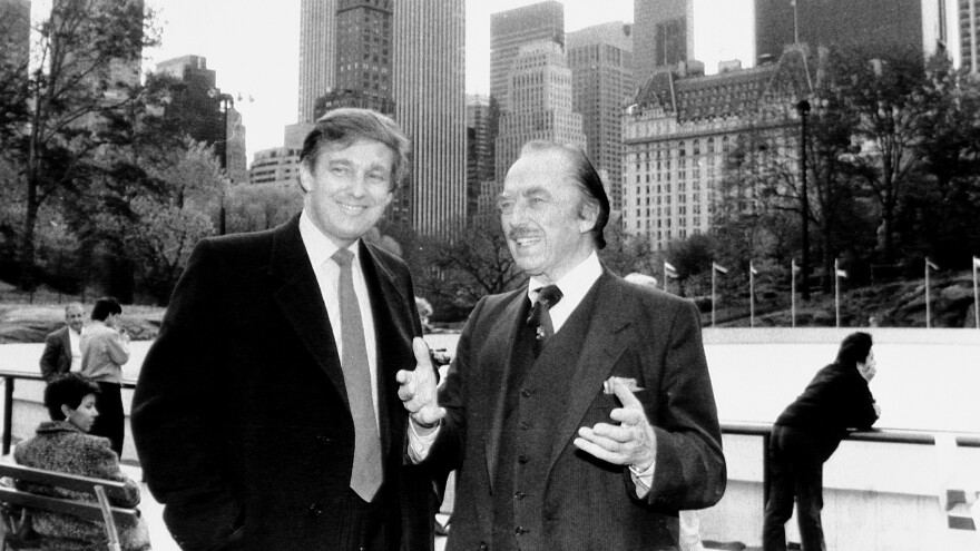 Donald Trump and father Fred Trump attend the opening of Wollman skating rink in New York City's Central Park in 1987.