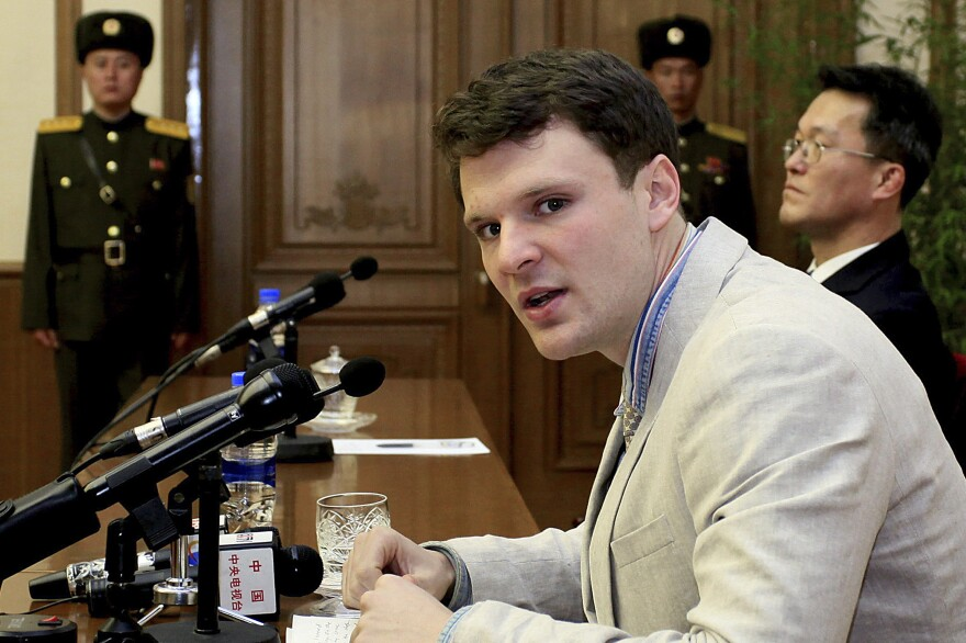 American student Otto Warmbier speaks as he is presented to reporters in Pyongyang, North Korea in Feb. 2016.