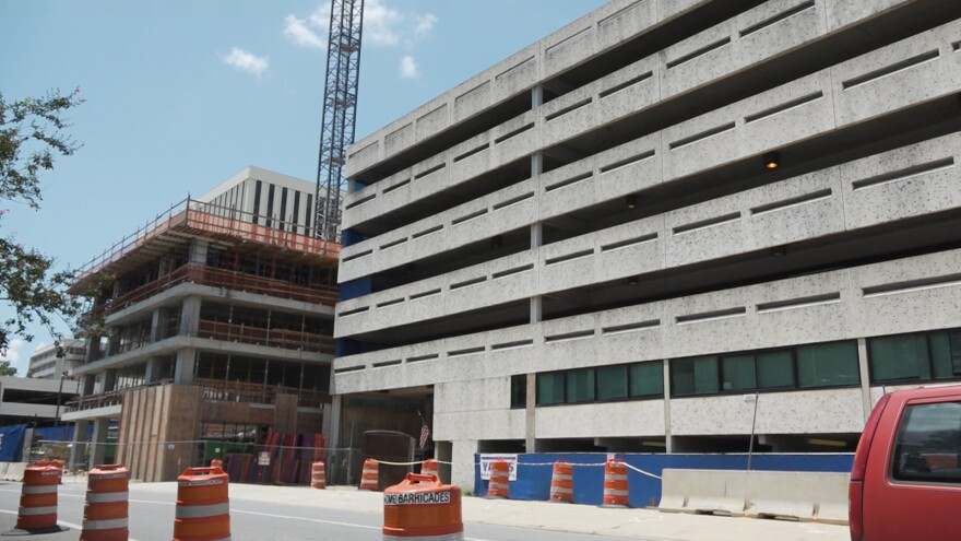Parking Garage and construction site of proposed Washington Square building.
