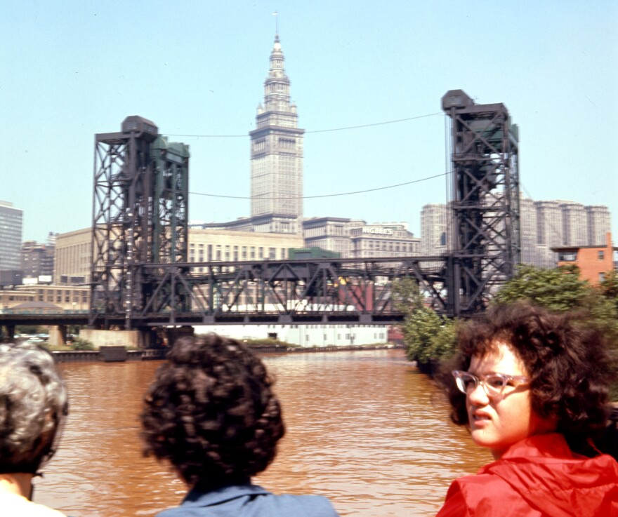 a photo of the Cuyahoga River near downtown Cleveland