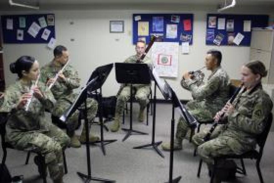 The Intrepid Winds Woodwind Quintet rehearses at Fort Sam Houston in San Antonio. From left: Leanne Raley, Mike Becker, Kyle Noonan, Kevin Halprin, and Samantha Rasmussen.