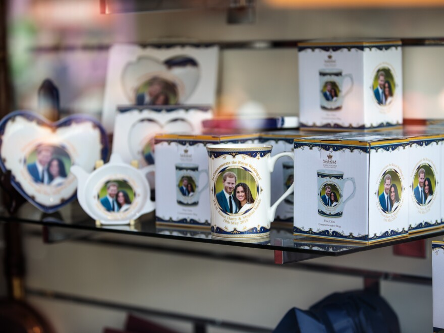 Royal wedding memorabilia sits on display in a shop window in Windsor, England.