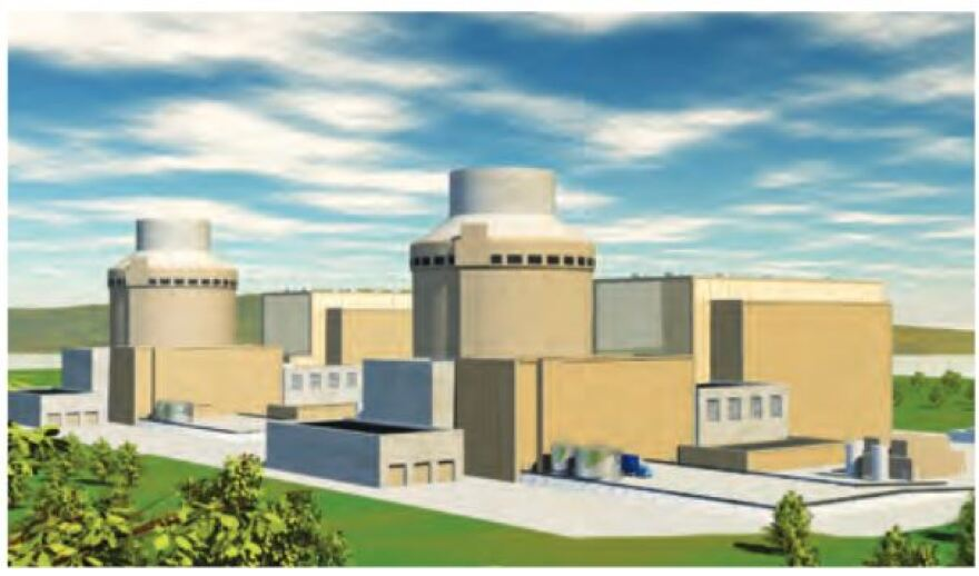 Drawing shows design for the W.S. Lee Nuclear Plant in Cherokee County, S.C.